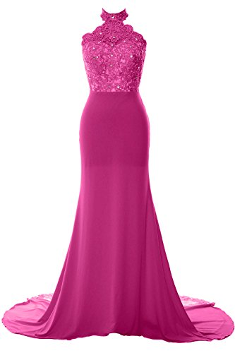 Fuchsia Mermaid Prom Formal Women Evening Long Halter Lace Gown Jersey MACloth Dress AgPnRn