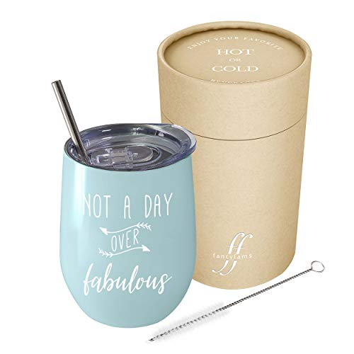 Not A Day Over Fabulous - Fancyfams - 12 oz Stainless Steel Stemless Wine Tumbler with Lid - Perfect Birthday Gift for Her (Blue)