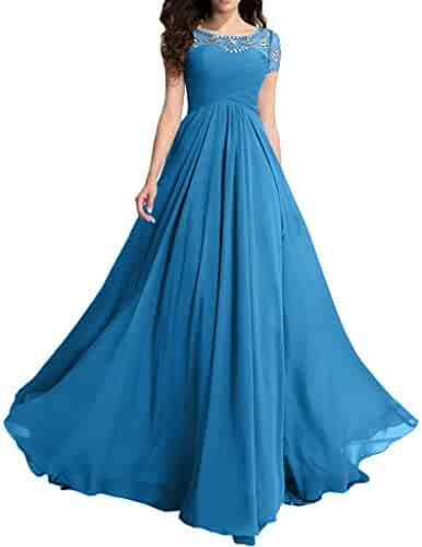 7e2ad0f2b4 MILANO BRIDE Modest Wedding Party Dress Prom Dress Short Sleeves A-line  Beads