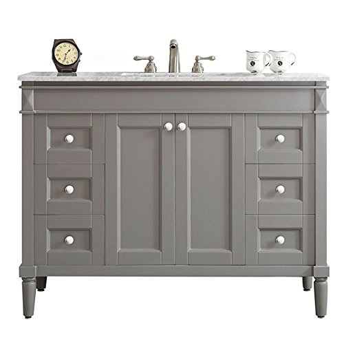 Laminated Black Granite Top - Vinnova 715048-GR-CA-NM Modern Catania 48 inch Vanity In Grey with Carrara White Marble Countertop Without Mirror,