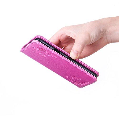 Funda LG G5 Case, Ecoway pintado modelado Embossing Cuero PU Función Stand Fundas protectoras con tarjeta Slot Holder Carpeta de diseño de libro Desmontable correa de mano Función de Soporte Billetera Rose Red