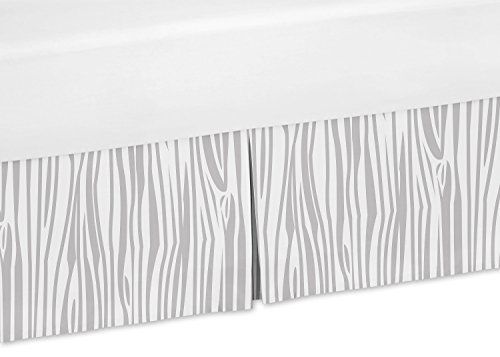 Sweet Jojo Designs Grey Wood Grain Print Toddler Bed Skirt for Grey and White Woodland Deer Kids Children's Bedding Sets