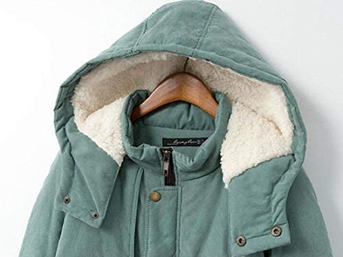 Winter Lined Coat Hooded Size Women EKU Parkas Green Wool Plus Jackets 1a5xw