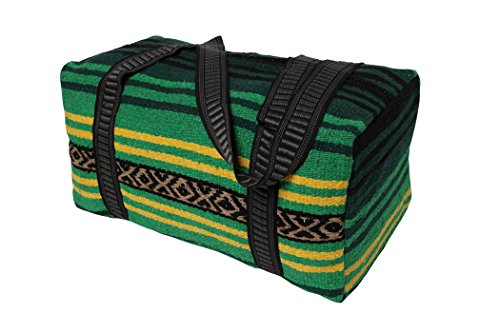 (Peyote Style Carry On Shoulder Tote Duffel Bag Beautiful Hand-Woven Acrylic Mexican Serape Design in Vivid Colors (Peyote Green A))