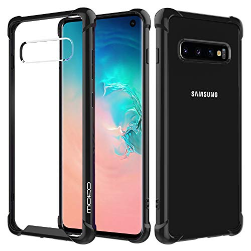 (MoKo Compatible with Galaxy S10 Case, Crystal Clear Reinforced Corners TPU Bumper and Anti-Scratch Rugged Transparent Hard Panel Cover Fit with Samsung Galaxy S10 6.1 inch 2019 - Black &)