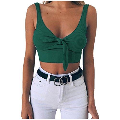 ありがたいリゾート少ないTootess Womens Backless Stretchy Fabric Pure Color Knot Tank Tops Vest