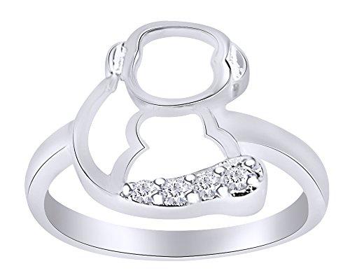 (Wishrocks White CZ Cute Animal Monkey Design Ring in 14K White Gold Over Sterling Silver)