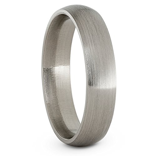 Brushed Titanium 5mm Comfort-Fit Dome Wedding Band, Size 9.5 by The Men's Jewelry Store (Unisex Jewelry)