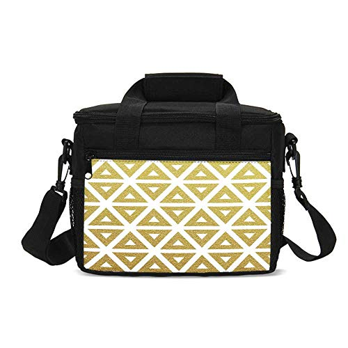 (Gold and White Durable Lunch Bag,Geometric Triangles with Inner Details Lines Stripes Modern Print for Picnic Travel,9.4