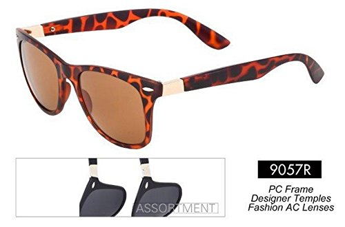 New Unisex Wayfarer Style Plastic Frame with Mirror Lens Sunglasses Model No. 9057R (Tortoise Shell Frame Brown - Tortoise New Wayfarers Shell