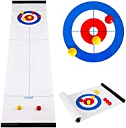 Family Games Fun Tabletop Mini Curling Game Set for Kids and Adults Shuffleboard Pucks with 8 Rollers