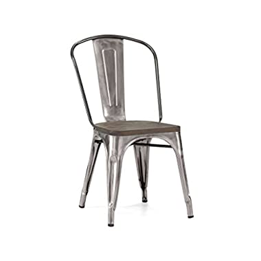 Design Lab MN Dreux Elm Wood Steel Side Chair, Set of 4, Gunmetal Wood