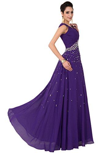2015 Sunvary Traeger veces en forma de corazón de nuevo elegancia vestido de la gasa de largo piedras vestidos de fiesta morado