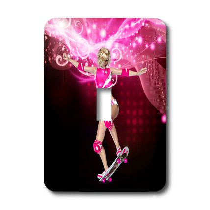 lsp_201010_1 Simone Gatterwe Designs People - A skater girl with a pink sport outfit - Light Switch Covers - single toggle switch