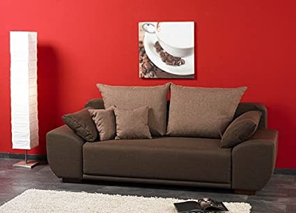 Sofa Bed with Laminate Bed Drawer with Brown Exterior Fabric