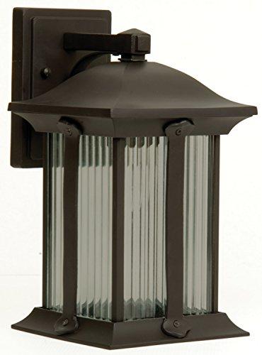Craftmade Z4104-92 Wall Lantern with Ribbed Halophane Glass Shades, Bronze Finish