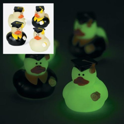 Fun Express Mini Glow-in-the-Dark Graduation Rubber Ducky Party Favors - 24 Pieces (Fun Graduation Party Games)