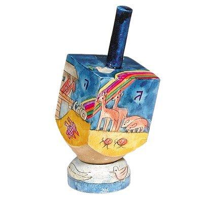 (Dreidel Hanukkah Gifts Ornament Game - Yair Emanuel SMALL WOODEN DREIDEL WITH STAND NOAHS ARK (Bundle))