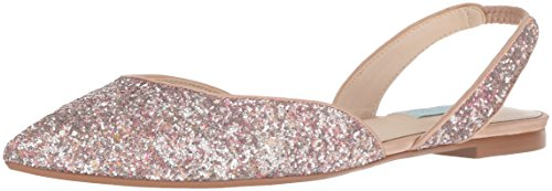 Blue by Betsey Johnson Women's SB-Mimi Ballet Flat, Nude Glitter, 8 M US by Blue by Betsey Johnson