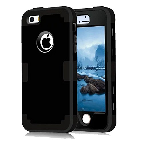 iPhone 5S Case, Phone SE Case, Asstar 3 in 1 Hard PC+ Soft TPU Impact Protection Heavy Duty Shockproof Full-Body Protective Case for Apple iPhone SE / iPhone 5 5S (Black)