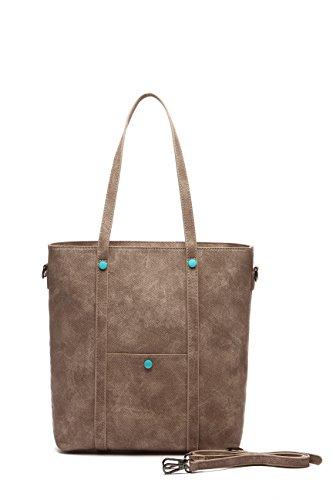 beige bolsos mujer MAMBO mujer shopper marrón Bolsos hombro y grande Bolsos Camel naranja tote bolso bolso g8w4W5Cq