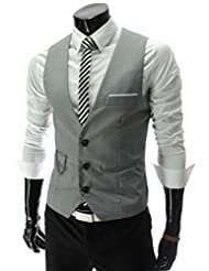 Men's Waistcoat Top Casual Slim Fit Sleeveless Dress Vest Suit