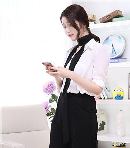 Women's Stylish Black Soft Thin Long Chiffon Scarf Tie Necktie,Choker