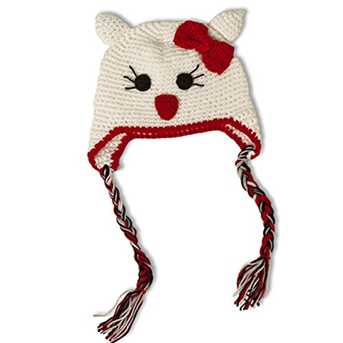 Little Girls Crochet Kitty Beanie Hat (White and Red) (Lilac Angel Toddler Costume)