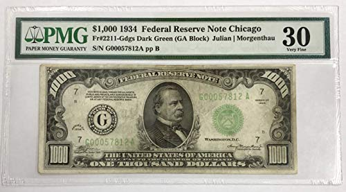 1934 Federal Reserve Note - 1934 $1000 Dollar Bill Federal Reserve Note Chicago $1000 PMG Very Fine