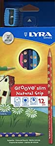 LYRA Slim Groove Child-Grip Pencils, 3 Millimeter Cores, Includes Sharpener, Set of 12 Pencils, Assorted Colors (2821120)