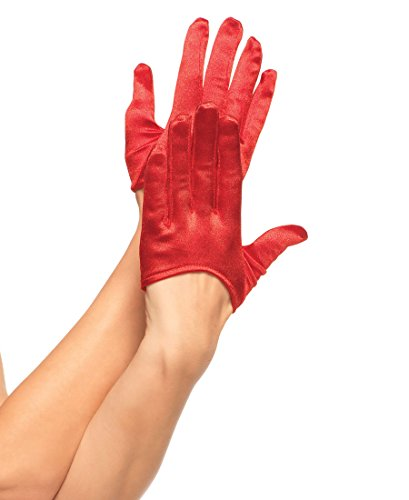 Red Cropped Satin Gloves (Mini Cropped Satin Gloves Costume Accessory)