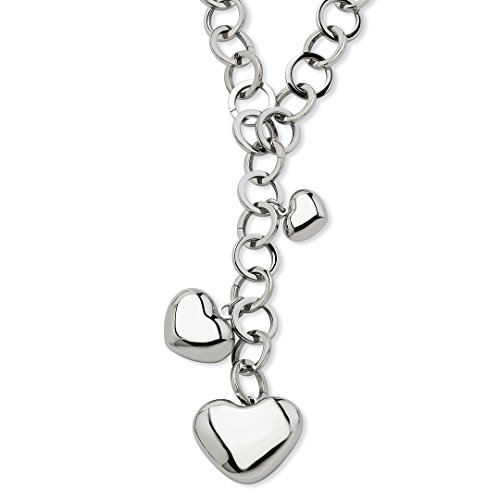 ICE CARATS Stainless Steel Hearts 28in Y Chain Necklace Pendant Charm S/love Fashion Jewelry For Women Gift ()
