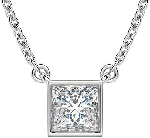DTJEWELS Arranged 3 Stone Pendant with 18 Chain 0.52 Ctw Princess Sim Diamond 14K White Gold Plated