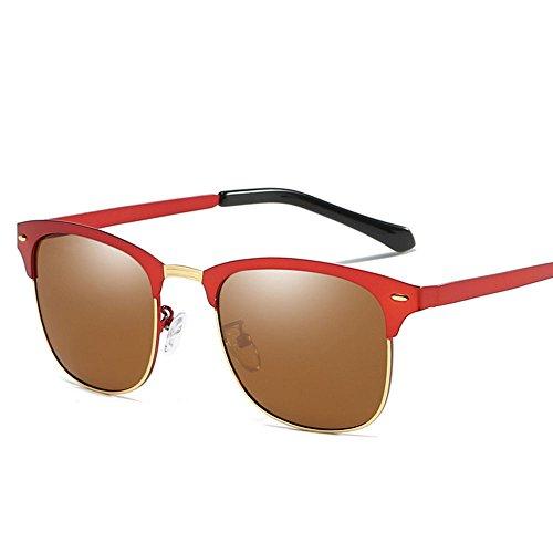 de sans lunettes soleil monture soleil en option femmes Semi polarisées rétro lunettes alpinisme Brown hommes 5 couleurs qfw5gPI