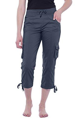 Alki'i Women's Elastic Waist Drawstring Cargo Capri with Adjustable Length 2141 Charcoal L Cargo Pants Charcoal