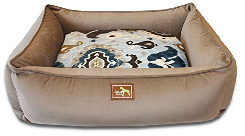 Coco And Heirloom bluee Velvet XL Coco And Heirloom bluee Velvet XL Luca for Dogs Lounge Dog Bed w Easy-Wash Cover, X-Large 44 x34 x12 , Coco-Heirloom bluee Velvet