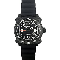 Trintec Aviation ZULU-07 PRO Men's Navigator Watch Black PVD Finish with Rubber & Orange Nato Bands