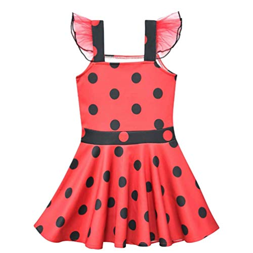 Girls Princess Dress Polka Dot Lace Ruffle Sleeve For Ladybug Costume Outfit For Halloween Christmas Dress Up Birthday Gift