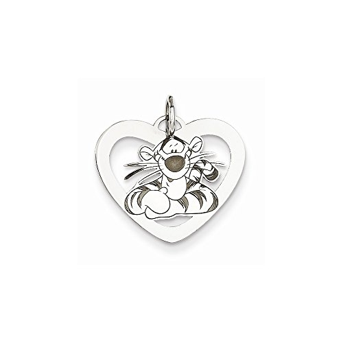 Roy Rose Jewelry Sterling Silver Tigger Heart Charm Necklace Complete with Chain Trademark and Licensed