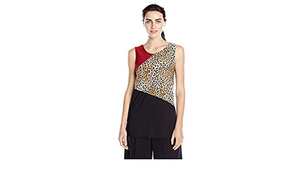 Star Vixen Womens Sleeveless Colorblock Print and Solid Top