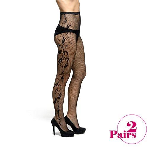 Lady Dorset Patterned Romantic Fashion Fishnet Lamai Pantyhose - Soft feel - Hosiery Sock for Women - One Size - 2 Pairs