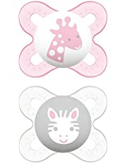 Mam Start Nana fopspeen in set van 2, van rubber met fopspeen, 0-2 maanden, roze