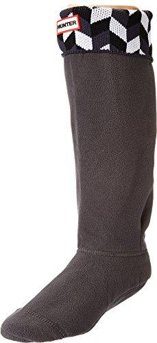 - Hunter Women's Geometric Dazzle Boot Sock Grey/White LG (Womens Shoe 8-10)