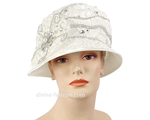 Women's Hats, Church Hat, Dressy Formal Hats #H879 (White) by Ms. Divine Collections
