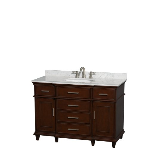Berkeley Bathroom Vanity - Wyndham Collection Berkeley 48 inch Single Bathroom Vanity in Dark Chestnut with White Carrera Marble Top with White Undermount Oval Sink and No Mirror