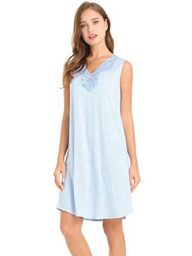 Cherrydew Womens Soft Bamboo Sleeveless Nightgowns V-Neck Nighties with Lace Trim Sleep Dress(Blue, Medium)