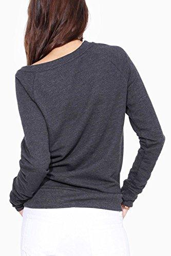 La Mujer Es Elegante De Manga Larga De Un Hombro Cremallera T Shirt Tops Blusas Grey