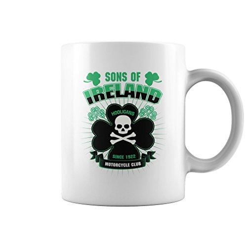 Sons Of Ireland Hooligans Motorcycle Club Mug (White, 11Oz) Gifts for Funny Irish St Patricks Day