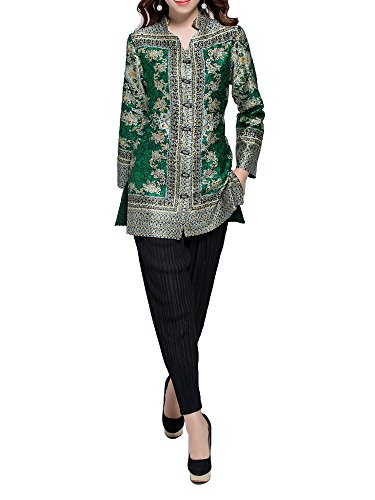 Bitablue Womens V-Neck Button Down Blouse Shirt with Floral Patterns (Small, Green)