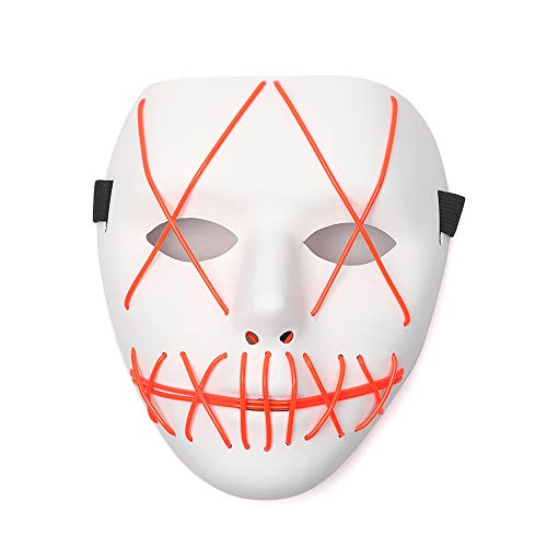 Ansee Scary Mask Halloween Cosplay Led Costume Mask El Wire Light Up Mask for Festival Parties (Red) -